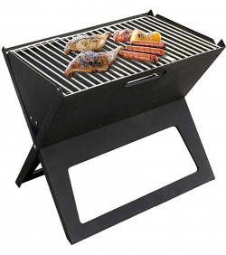 Portable Easy Carrying BBQ Stove - black