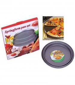 Non-Stick Pizza Pan 3pcs Set - Black