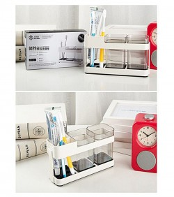Promotional plastic toothbrush holder with 2 gargle cups
