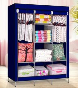 HCX Wardrobe Storage Organizer for Clothes - Big Size 3 part - cyan