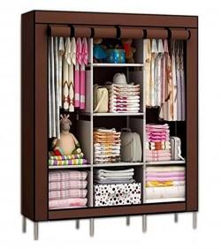 HCX Wardrobe Storage Organizer for Clothes - Big Size 3 part - brown