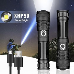 Rechargeable Zoom LED Flashlight USB Torch Light