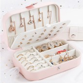 Portable Double Layer Artificial Leather Jewelry Box - Pink